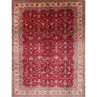 "Traditional Handmade Wool Sarouk Persian Floral Area Rug - 13'1"" x 10'2"""