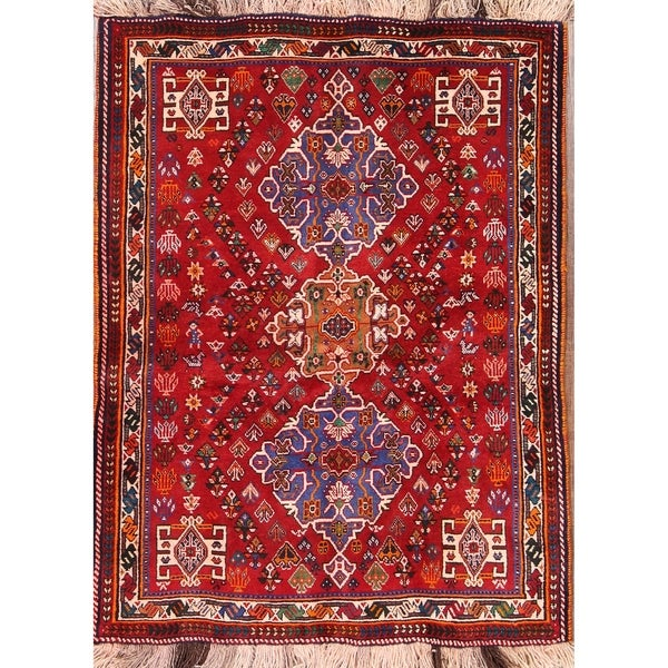 "Handmade Wool Traditional Abadeh Persian Tribal Area Rug - 5'2"" x 3'9"""