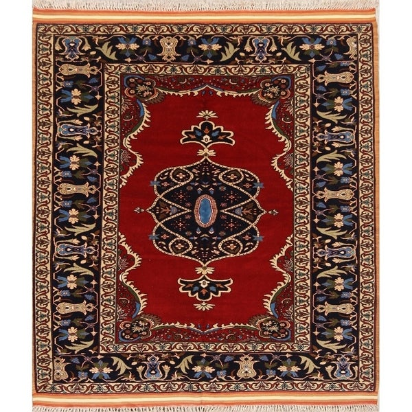 """Hand Made Wool Traditional Isfahan Persian Floral Area Rug - 5'0"""" x 4'6"""""""