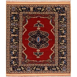 "Hand Made Wool Traditional Isfahan Persian Floral Area Rug - 5'0"" x 4'6"""