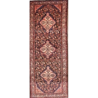 "Vintage Handmade Wool Geometric Hamadan Persian Rug - 9'10"" x 4'0"" runner"