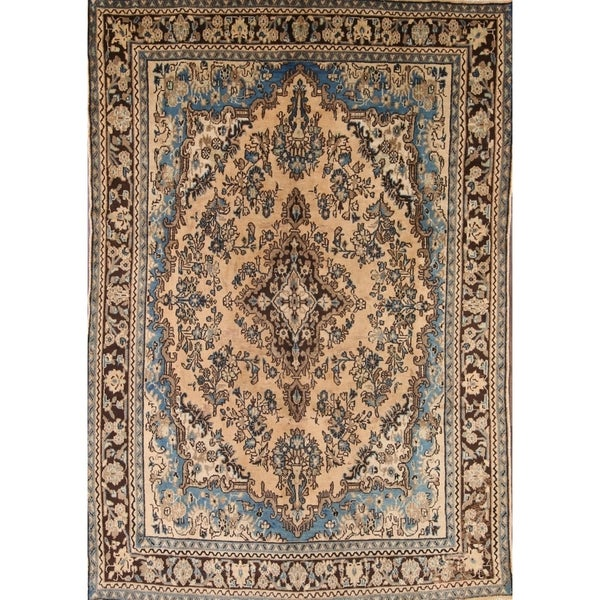"""Hamedan Persian Antique Area Rug Hand Knotted Tribal Brown Carpet - 10'0"""" x 6'7"""""""