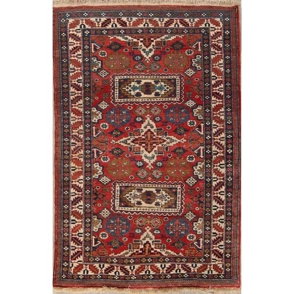 "Kazak Caucasian Russian Vintage Oriental Area Rug Geometric Handmade - 5'6"" x 3'7"""