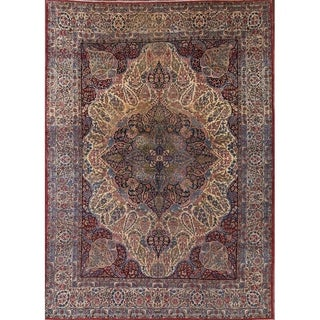 "Antique Hand Made Wool Kerman Ravar Persian Medallion Area Rug - 12'6"" x 9'2"""