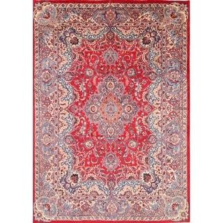 "Traditional Mashad Handmade Wool Persian Medallion Area Rug - 11'4"" x 8'0"""