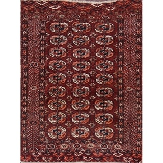 """Turkoman Traditional Hand Made Persian Area Rug Antique Red - 4'8"""" x 3'7"""""""