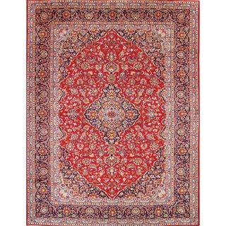 "Vintage Hand Knotted Wool Kashan Persian Medallion Area Rug Red - 12'9"" x 9'9"""