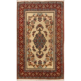 """Antique Traditional Hand Made Traditional Qum Persian Floral Area rug - 6'11"""" x 4'7"""""""