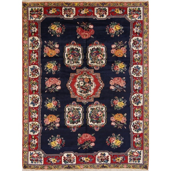 """Hand Knotted Wool Traditional Bakhtiari Persian Floral Area Rug - 9'4"""" x 7'0"""""""