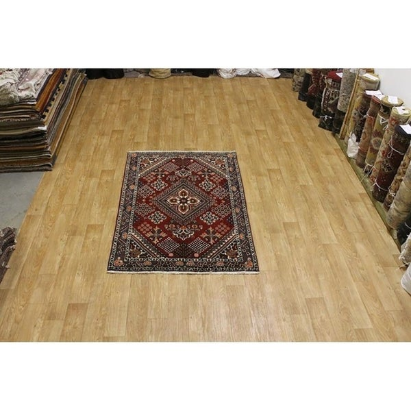 "Hand Knotted Wool Traditional Geometric Bakhtiari Persian Rug - 6'8"" x 4'6"""
