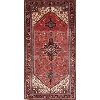 "Hand Knotted Woolen Heriz Geometric Persian Oriental Area Rug - 9'9"" x 5'2"""