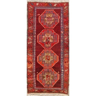 "Antique Geometric Kazak Caucasian Russian Oriental Classical Rug - 9'2"" x 4'4"" runner"