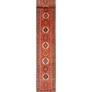 """Extra Long  Gharajeh Persian Hand Knotted Rug Geometric - 31'0"""" x 2'10"""" runner"""