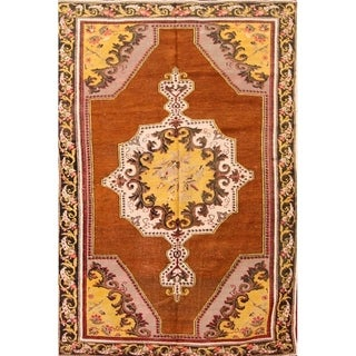 "Oushak Floral Hand Knotted Antique Turkish Oriental Area Rug - 7'3"" x 4'7"""