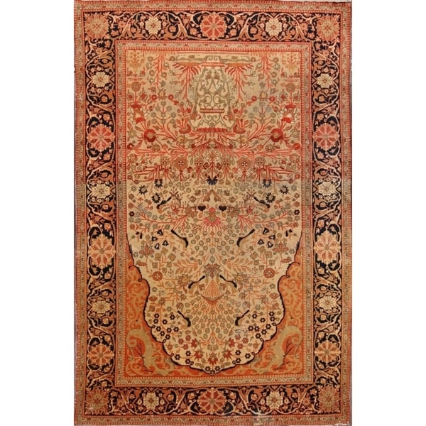 """Antique Kashan Hand Made Classical Mohtashem Persian Floral Area Rug - 6'6"""" x 4'3"""""""