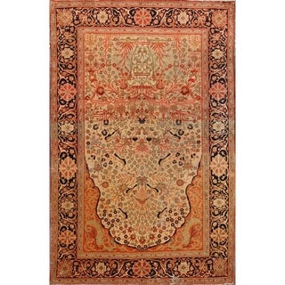 "Antique Kashan Hand Made Classical Mohtashem Persian Floral Area Rug - 6'6"" x 4'3"""