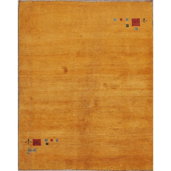 """Hand Knotted Wool Contemporary Gabbeh Persian Area Rug - 6'4"""" x 5'2"""""""