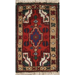 "Hand Knotted Geometric Hamedan Indian Oriental Wool Rug - 2'0"" x 1'3"""