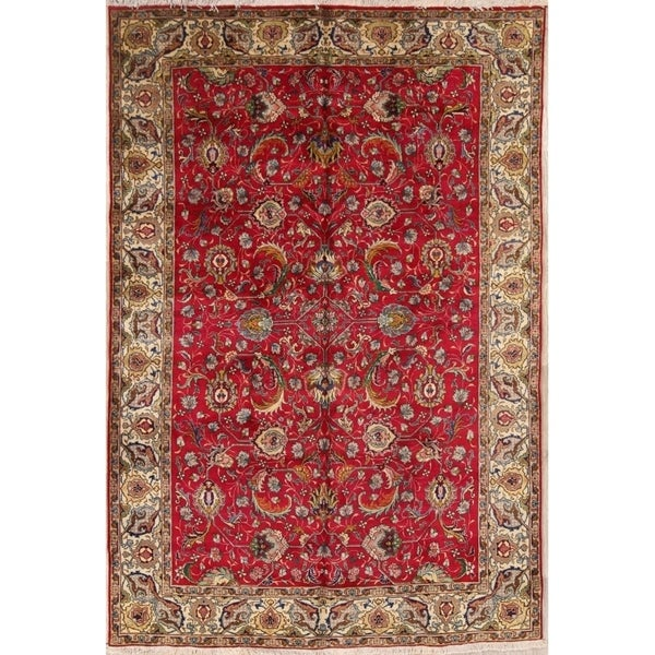 "Hand Made Traditional Tabriz Persian Geometric Area Rug - 9'10"" x 6'5"""
