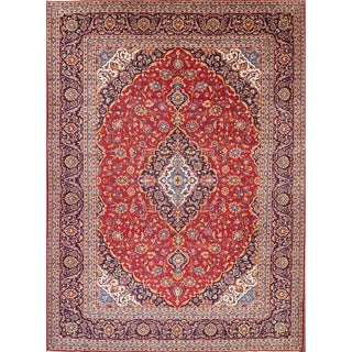 "Traditional Hand Knotted Kashan Persian Classical Vintage Area Rug Red - 13'1"" x 9'9"""