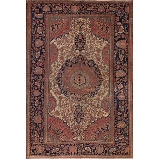 """Antique Sarouk Farahan Persian Hand Knotted Wool Floral Area Rug - 12'1"""" x 8'6"""""""