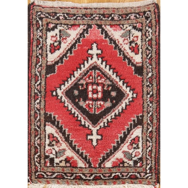 "Hamedan Hand Knotted Wool Persian Area Rug Geometric Pattern - 2' x 1'6"" square"