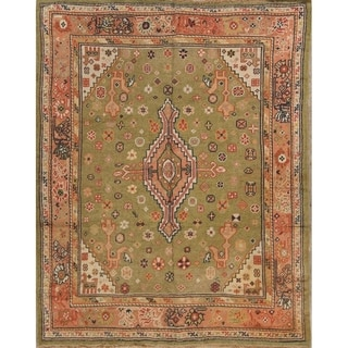 "Antique Green Oushak Turkish Floral Hand Made Floral Area Rug - 7'11"" x 6'3"""
