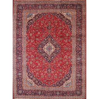 "Vintage Traditional Hand Knotted Kashan Persian Medalliom Area Rug - 13'0"" x 9'9"""