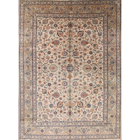 "Antique Floral Hand Made Traditional Kashan Persian Medallion Area Rug - 12'2"" x 9'0"""