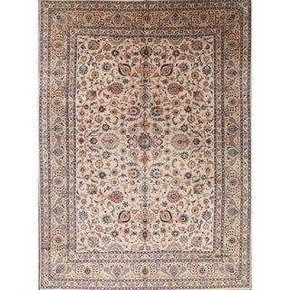 """Antique Floral Hand Made Traditional Kashan Persian Medallion Area Rug - 12'2"""" x 9'0"""""""