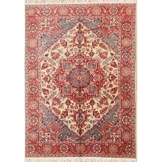 "Hand Made Wool Heriz Geometric Persian Oriental Area Rug - 9'2"" x 6'11"""