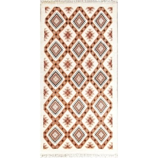 """Moroccan Hand Knotted Wool Traditional Oriental Area Rug Beige - 5'7"""" x 2'10"""" runner"""