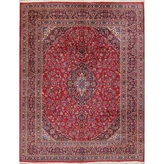 "Mashad Persian Oriental Hand Made Wool Floral Area Rug - 12'7"" x 9'8"""