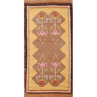 "Traditional Moroccan Oriental Hand Made Wool Area Rug Brwon - 4'9"" x 2'6"""