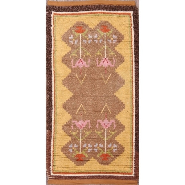 "Traditional Moroccan Oriental Hand Made Wool Area Rug Brwon - 4'9"" x 2'6"""