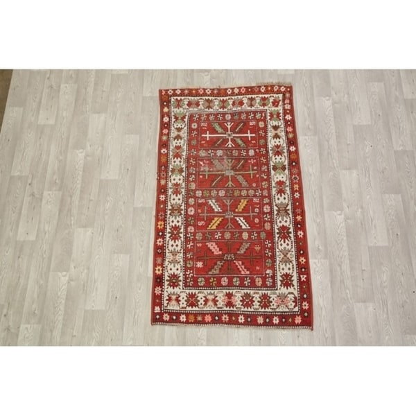 """Antique Hand Knotted Wool Kazak Russian Oriental Area Rug - 6'4"""" x 3'7"""""""
