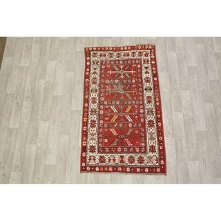 "Antique Hand Knotted Wool Kazak Russian Oriental Area Rug - 6'4"" x 3'7"""