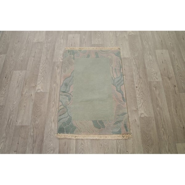 """Classical Hand Made Nepal Tibet Traditional Oriental Area Rug Green - 3' x 2'1"""""""