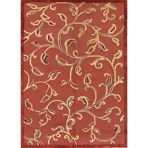 "Porch & Den Adagio Hand-knotted Floral Wool Contemporary Area Rug - 8'5"" x 5'5"""
