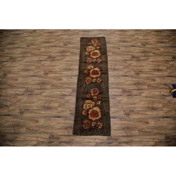 """Hand Knotted Woolenl Rya Sweden Oriental Flora Rug - 10'10"""" x 2'11"""" runner"""