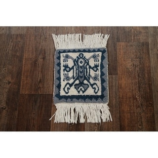 """Geometric Tribal Square Moroccan Hand Knotted Oriental Area Rug - 1'2"""" x 1'1"""" square"""