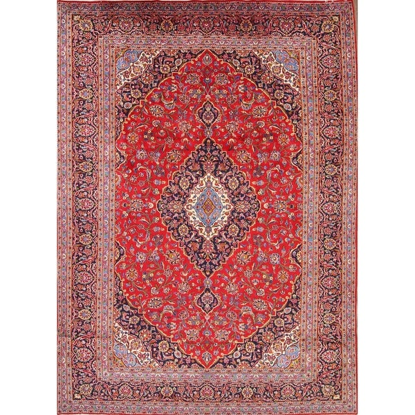 Shop Classical Kashan Medallion Hand Knotted Persian Wool: Shop Hand Knotted Wool Kashan Persian Oriental Medallion