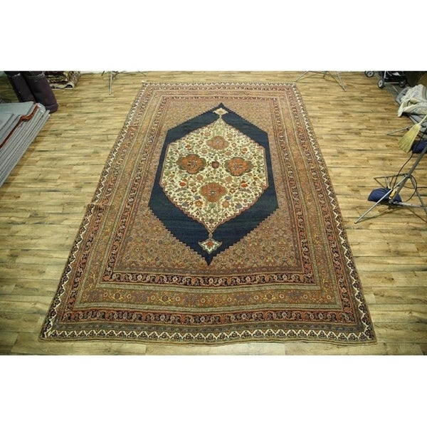 "Antique Traditional Hand Made Wool Bidjar Halvaei Persian Rug - 18'3"" x 11'7"""