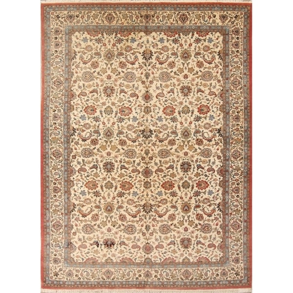 """Qum Hand Knotted Wool Antique Medallion Area Rug Persian Beige - 10'7"""" x 7'1"""""""
