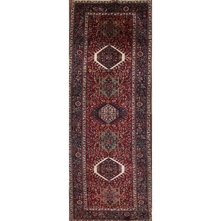 "Vintage Gharajeh Persian Hand Made Wool Traditional Geometric Rug - 13'0"" x 4'9"" runner"