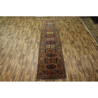 "Antique Hand Knottd Wool Caucasian Russian Traditional Brown Rug - 16'0"" x 3'8"" runner"