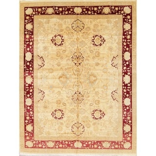 "Hand Knotted Wool Oushak Peshawar Oriental Floral Area Rug - 11'11"" x 9'0"""