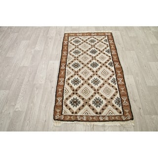 """Traditional Hand Knotted Geometric Moroccan Area Rug - 5'1 x 2'10"""""""