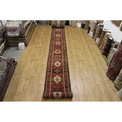 """Extra Long Hand Knotted Wool Gharajeh Heriz Persian Rug Tribal - 38'4"""" x 2'10"""" runner"""