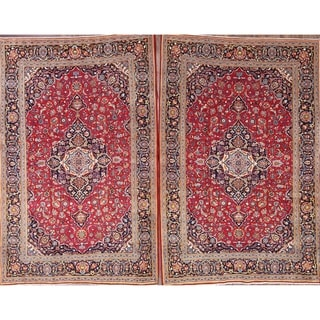 """Kashan Hand Knotted Persian Vintage Medallion Area Rug Red - 6'10"""" x 4'8"""""""